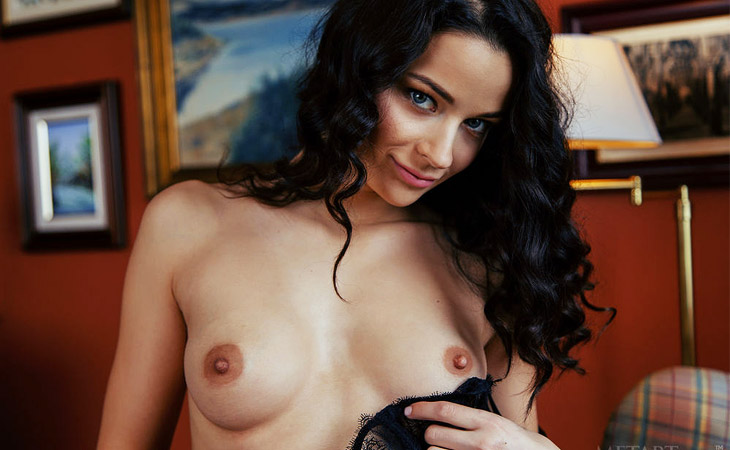 Ardelia A Strips off her Black Lingerie
