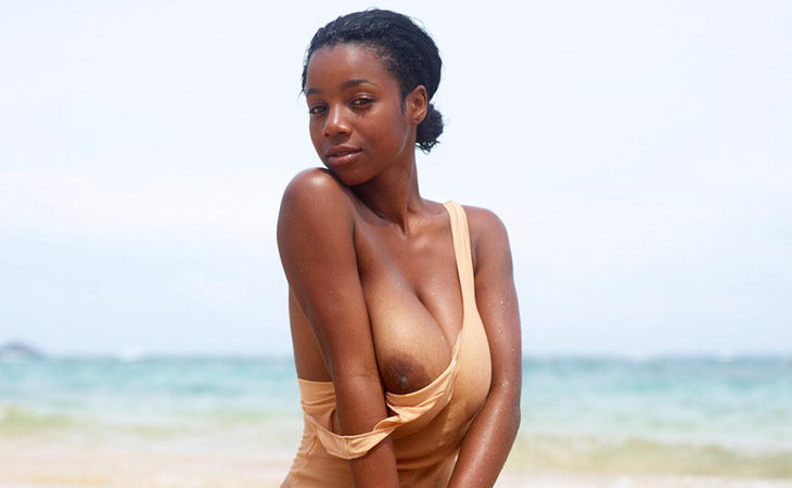 Busty Wet Ebony With Huge Naturals