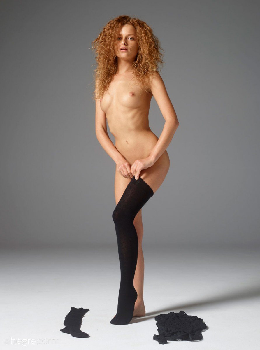 Stocking Cutie With a Curly Hair